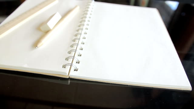 Pencil,Eraser,Ruler and Book with blank pages,Dolly Shot video