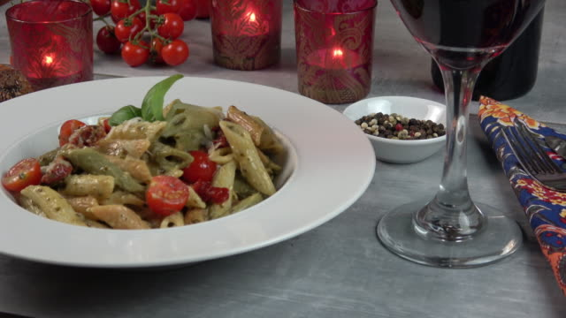 Penne Pasta Plate Served video