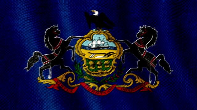 Pennsylvania flag waving animation video