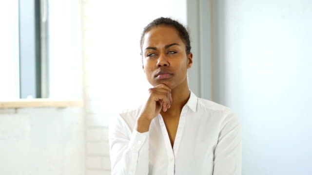 Pensive Black Woman Thinking video