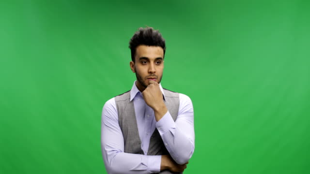 Pensive Businessman Ponder Over Chroma Key Green Screen Brainstorming, Happy Smiling Having New Idea video