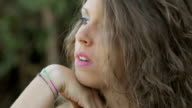 pensive cute young woman: thoughtful girl with problems video