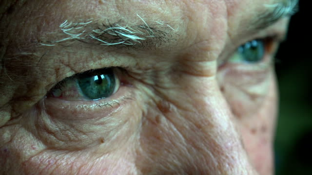 pensive elderly man: thoughtful elderly man, sad old man video