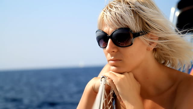 HD: Pensive Woman On Sailing Boat video