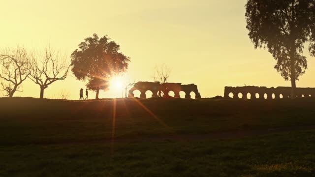 People and Sunset at Parco degli Acquedotti video