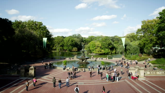 People at Bethesda Fountain in Central Park, New York City video
