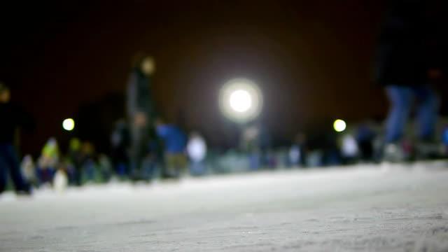 HD - People at the ice skating. defocused video