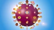 People Avatars Orbiting With Globe video