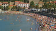People bathing on the beach of Collioure, France - Europe video