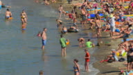 People bathing on the beach of Collioure. France - Europe video