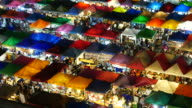 People Bustling in Train Night Market, Bangkok video