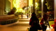 People come back from the park, view on the park road in the night video