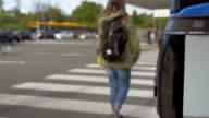 People crossing the road on zebra video