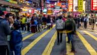 People Crowd at Pedestian Near Mongkok video