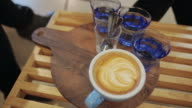 People drinking coffee and having good time. video