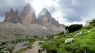 People in excursion of the Dolomites mountains video
