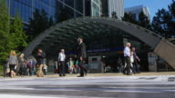People In Front Of London Canary Wharf Tube Station (UHD) video