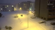 People in living house district at heavy snow fall blizzard. video