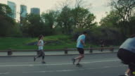 People jogging and cicying in Central Park, New York City video