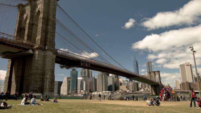 People looking at Brooklyn bridge and Manhattan video
