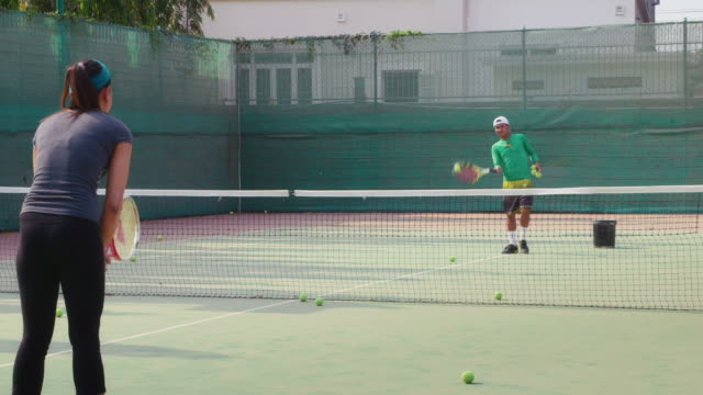 People, man and woman playing tennis, game, match, sports video
