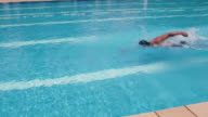 People, man in swimming pool, swimmer exercising, water sport video