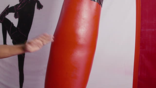 People, man practicing kickboxing in gym, combat, boxing, sport video