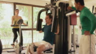 People, man, woman in resort, hotel, having fun, gym video