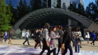 People Moving In Front Of London Canary Wharf Tube Station (UHD) video