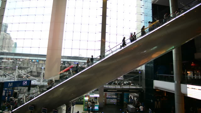 People moving on escalator video