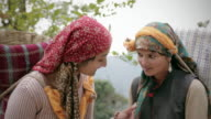 People of Himachal Pradesh: Beautiful happy, young women gossiping. video
