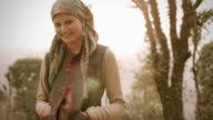 People of Himachal Pradesh: Beautiful young woman and sunshine video