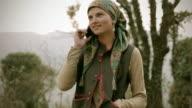 People of Himachal Pradesh: Beautiful young woman using mobile phone video