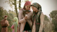 People of Himachal Pradesh: Beautiful young women using mobile phone video