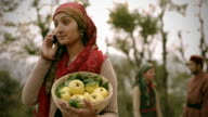 People of Himachal Pradesh: Woman on phone holding apple basket video