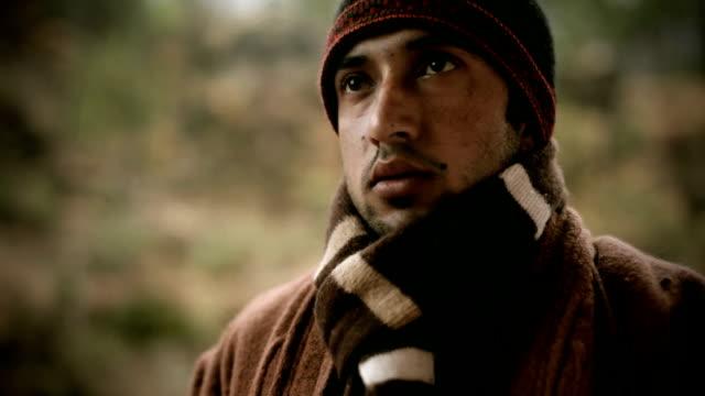 People of Himachal Pradesh: young man drinking tea in winter video