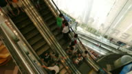 People on fast moving escalator video