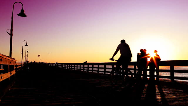 People on Pier (Silhouette at Sunset) video