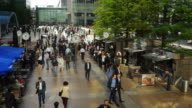People On Reuters Plaza In London Canary Wharf (UHD) video