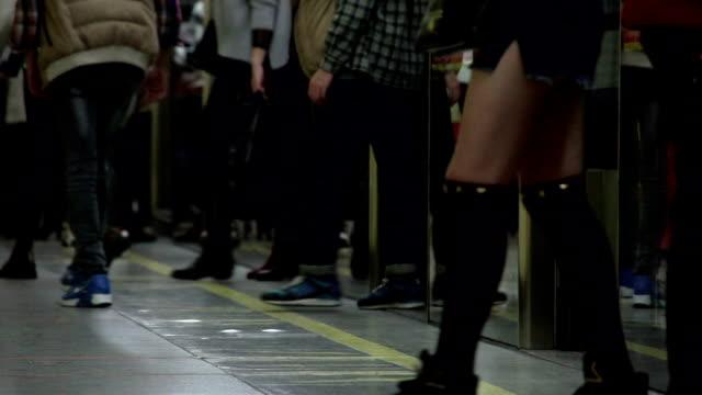 People On Subway Train Platform video