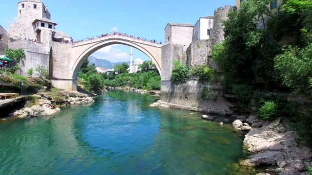 People on the bridge in Mostar waiting for jumping to start video