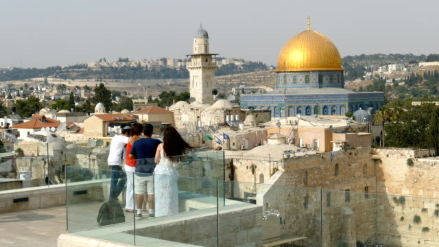People Overlooking the Dome of the Rock video