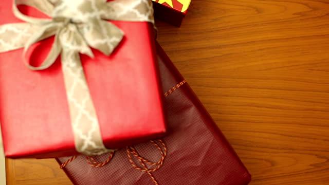 People preparing Christmas gifts video