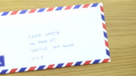 CNGLOTH97 - People putting stamps on letter and package video