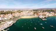 People relax on the beautiful beaches of Cascais Portugal video