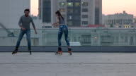 People rollerblading in the city. video