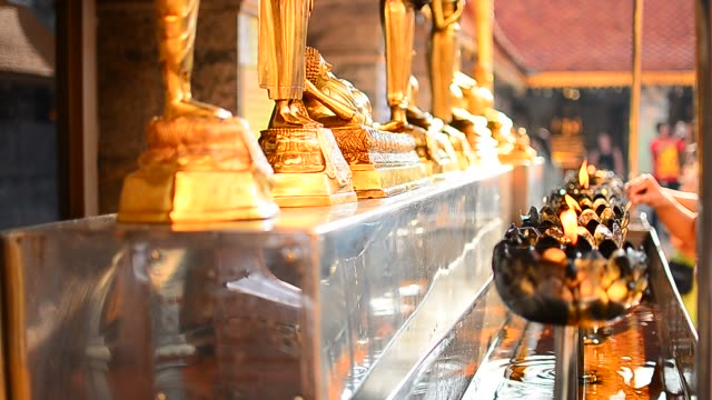 People Sacred Buddha Statues in Buddhist Temple video