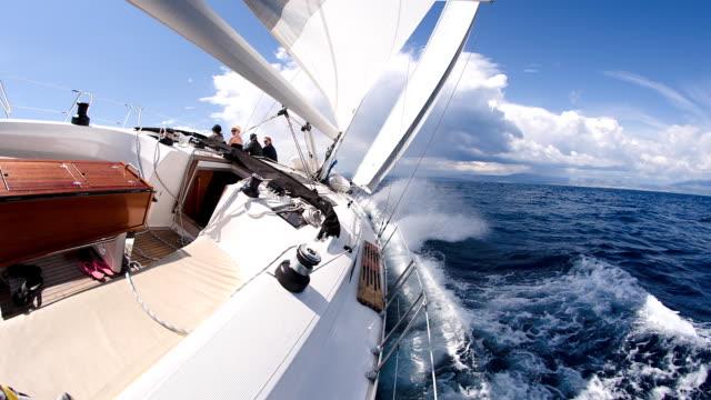 SLO MO People Sailing On Rough Sea video