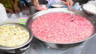 People Scoop Thai Dessert To The Plastic Box video