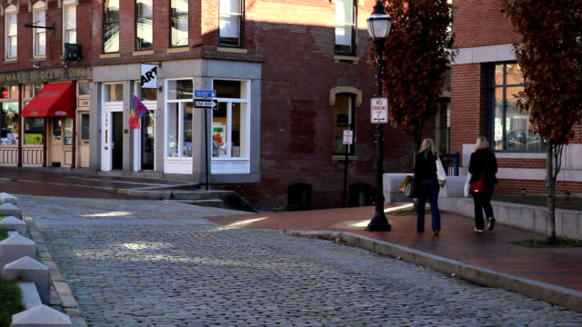 People shopping in Portland Maine's historic Old Port District video